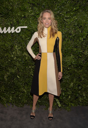 Cody Horn was fabulously mod in a color-block turtleneck sweater dress by Ferragamo during the label's celebration of 100 years in Hollywood.