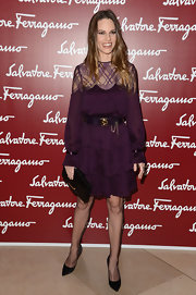 Hilary Swank wore this eggplant tiered dress to the Salvatore Ferragamo event.