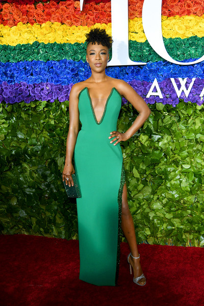Samira Wiley Metallic Clutch [red carpet,red carpet,dress,clothing,carpet,cobalt blue,electric blue,cocktail dress,shoulder,fashion,flooring,samira wiley,tony awards,new york city,radio city music hall,annual tony awards]