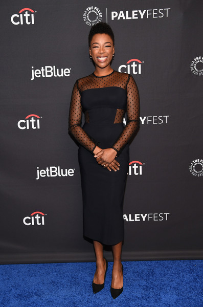 Samira Wiley Little Black Dress [the handmaids tale,clothing,dress,carpet,cocktail dress,red carpet,premiere,fashion,little black dress,shoulder,footwear,arrivals,samira wiley,los angeles,dolby theatre,california,hollywood,paley center for media,paleyfest]