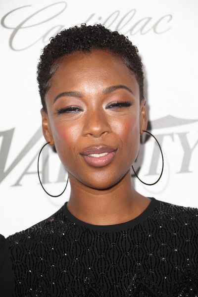 Samira Wiley Short Curls [variety and women in film,variety and women in films 2018 pre-emmy celebration,hair,hairstyle,face,eyebrow,forehead,black hair,chin,s-curl,lip,long hair,samira wiley,arrivals,west hollywood,california,cecconi,2018 pre-emmy celebration]