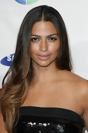 Camila Alves accented her natural beauty with nude lipstick with a subtle sheen.