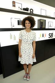 Nathalie Emmanuel looked youthful in this fit-and-flare print dress at the opening of the Samsung Studio LA.
