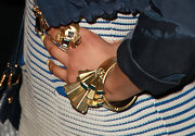 Nicki Minaj wore a Concentric square stretch bracelet with black diamond crystals in matte gold.