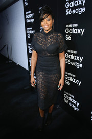 Taraji P. Henson flashed some skin in a see-through lace LBD during the Samsung Galaxy S6 launch.