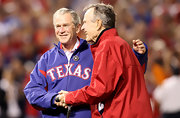 George W. Bush showed his home state loyalty in a zip up Texas jacket.