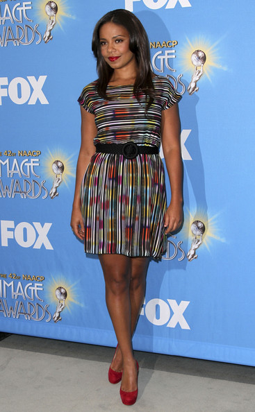Sanaa Lathan Print Dress [clothing,dress,cocktail dress,fashion model,fashion,footwear,shoulder,electric blue,joint,premiere,sanaa lathan,naacp image awards,beverly hills,california,press conference,nomination announcement,nomination announcement and press conference]