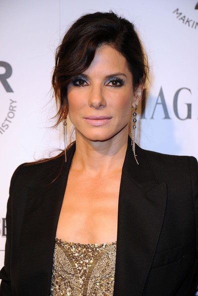 Sandra Bullock Dangling Diamond Earrings