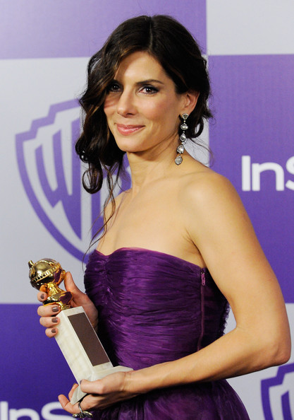 Sandra Bullock Sterling Dangle Earrings [warner brothers and instyle golden globe,warner bros. 67th annual golden globes,instyle,beverly hills,california,the beverly hilton hotel,oasis courtyard,sandra bullock]