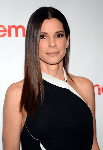 Sandra Bullock Nude Lipstick [films,the heat,hair,shoulder,face,hairstyle,clothing,eyebrow,beauty,long hair,brown hair,black hair,sandra bullock,celebs,caesars palace,las vegas,cinemacon,twentieth century fox,presentation,convention]
