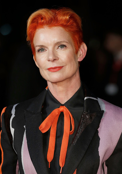 Sandy Powell Fauxhawk [carol america express gala,hair,face,lip,fashion,hairstyle,orange,eyebrow,red hair,beauty,chin,carol,sandy powell,london,england,odeon leicester square,bfi london film festival,america express gala]