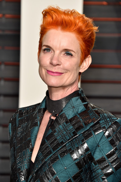 Sandy Powell Fauxhawk [vanity fair,oscar party,hair,face,hairstyle,red hair,eyebrow,chin,lip,hair coloring,fashion,blond,beverly hills,california,wallis annenberg center for the performing arts,sandy powell,graydon carter - arrivals,graydon carter]