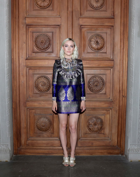 Saoirse Ronan Cocktail Dress [clothing,fashion,electric blue,fashion model,footwear,haute couture,fashion design,visual arts,dress,shoe,cruise 2018 - arrivals,saoirse ronan,palazzo pitti,florence,italy,gucci,fashion show,gucci cruise 2018]