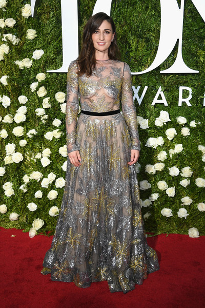 Sara Bareilles Beaded Dress [flooring,gown,carpet,dress,lady,fashion,fashion model,red carpet,haute couture,formal wear,arrivals,sara bareilles,tony awards,radio city music hall,new york city]