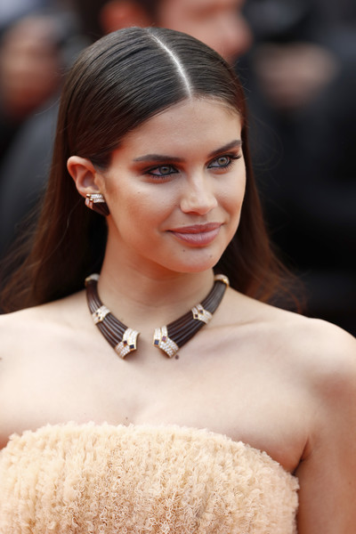 Sara Sampaio Long Straight Cut [hair,hairstyle,eyebrow,lip,beauty,fashion,skin,haute couture,dress,fashion model,sara sampaio,once upon a time in hollywood,screening,cannes,france,red carpet,the 72nd annual cannes film festival,cannes film festival]