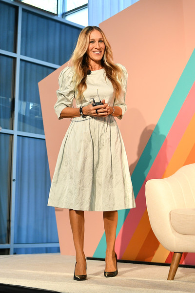 Sarah Jessica Parker Midi Dress [clothing,fashion model,dress,fashion,pink,shoulder,beauty,blond,lady,hairstyle,brooklyn expo center,new york city,blogher19 creators summit,sarah jessica parker]