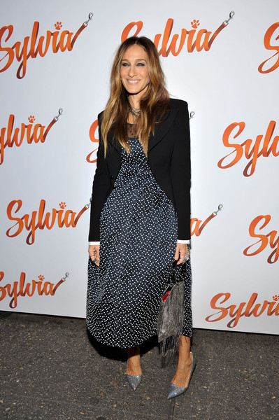 Sarah Jessica Parker Metallic Purse [clothing,dress,fashion,footwear,premiere,outerwear,event,little black dress,long hair,carpet,sylvia,sarah jessica parker,curtain call,new york city,cort theatre,opening night - arrivals]