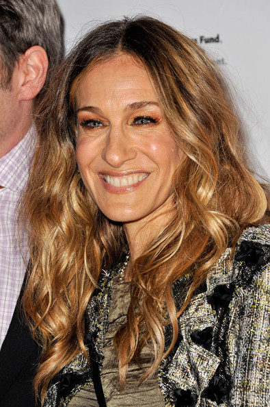 Sarah Jessica Parker Long Curls [the normal heart,hair,hairstyle,blond,long hair,brown hair,eyebrow,layered hair,hair coloring,beauty,chin,sarah jessica parker,curtain call,new york city,the golden theatre,broadway,opening night - arrivals]