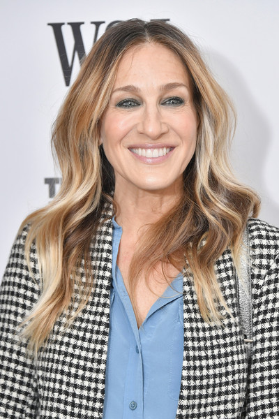Sarah Jessica Parker Long Wavy Cut [wsj the future of everything festival,hair,human hair color,blond,beauty,hairstyle,long hair,outerwear,brown hair,smile,layered hair,sarah jessica parker,the future of everything festival,new york city,spring studios]