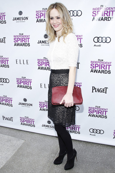 Sarah Paulson Ankle Boots [clothing,fashion,shoulder,pink,joint,footwear,leg,tights,street fashion,waist,west hollywood,california,boa steakhouse,film independent filmmaker grant and spirit awards,brunch,sarah paulson,nominees]