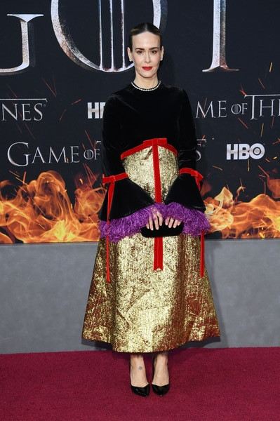 Sarah Paulson Evening Dress [game of thrones,season,clothing,carpet,fashion,flooring,red carpet,dress,premiere,fashion design,event,formal wear,sarah paulson,new york city,premiere]