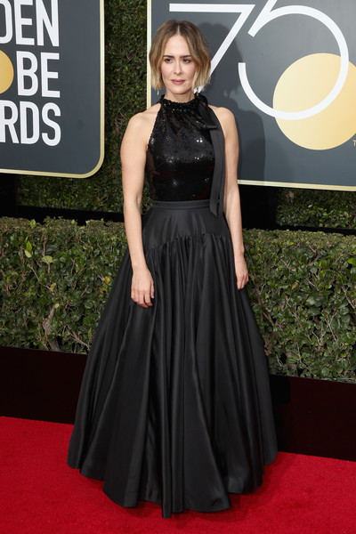 Sarah Paulson Halter Dress [flooring,dress,carpet,little black dress,gown,lady,red carpet,fashion model,fashion,cocktail dress,arrivals,sarah paulson,the beverly hilton hotel,beverly hills,california,golden globe awards,annual golden globe awards]