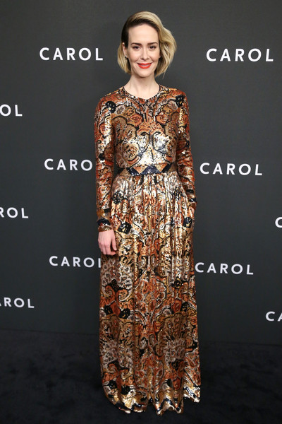 Sarah Paulson Sequin Dress [clothing,fashion model,dress,fashion,shoulder,fashion design,sleeve,neck,brown,formal wear,carol,sarah paulson,new york,museum of modern art,premiere,premiere]