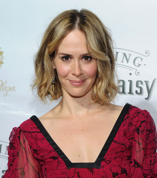 Sarah Paulson Curled Out Bob [driving miss daisy,hair,hairstyle,blond,eyebrow,shoulder,layered hair,lip,premiere,long hair,brown hair,sarah paulson,curtain call,new york city,john golden theatre,broadway,opening night - arrivals]