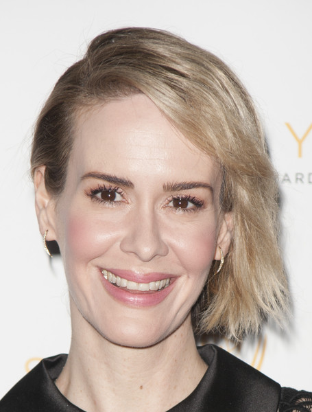 Sarah Paulson Short Side Part [hair,face,eyebrow,hairstyle,blond,chin,lip,forehead,head,skin,nominees,sarah paulson,67th emmy award,television academy celebrates the 67th emmy award,montage beverly hills,california,television academy celebrates,performances,outstanding performances]