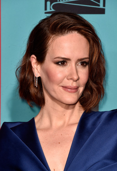 Sarah Paulson Short Wavy Cut [american horror story: freak show,hair,face,hairstyle,eyebrow,chin,forehead,premiere,brown hair,electric blue,long hair,arrivals,sarah paulson,tcl chinese theatre,california,hollywood,premiere screening of fx,premiere screening]