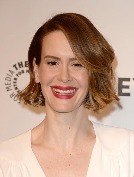 Sarah Paulson Short Wavy Cut [paleyfest 2014 closing night presentation honoring ``american horror story: coven,paleyfest - closing night presentation - american horror story,hair,face,lip,hairstyle,eyebrow,facial expression,chin,skin,smile,beauty,sarah paulson,california,hollywood,paley center for media]