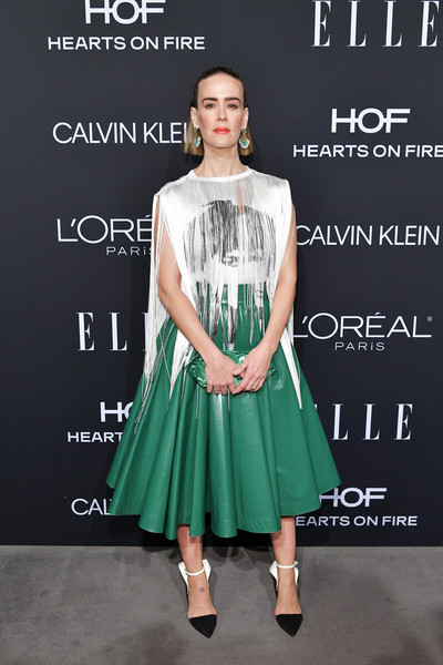 Sarah Paulson Fringed Top [elle,hearts on fire,loreal paris,red carpet,clothing,fashion model,dress,fashion,green,cocktail dress,fashion design,footwear,flooring,premiere,los angeles,beverly hills,california,25th annual women in hollywood celebration,calvin klein,sarah paulson]