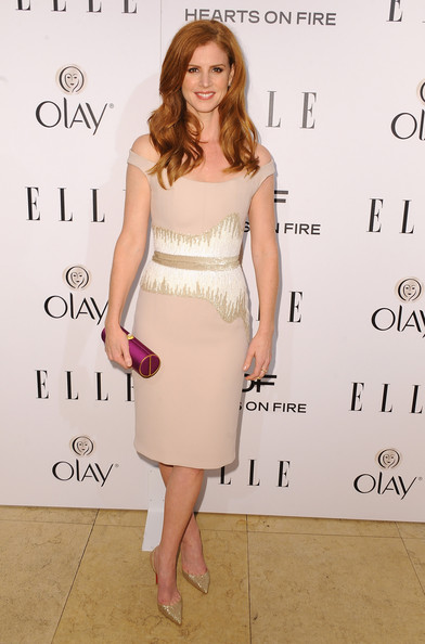 Sarah Rafferty Off-the-Shoulder Dress