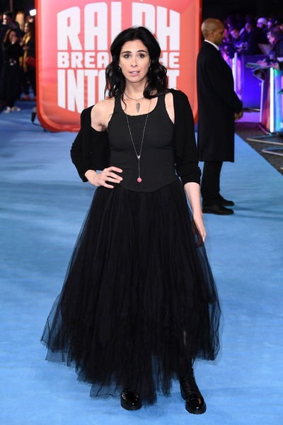 Sarah Silverman Combat Boots [ralph breaks the internet,clothing,dress,fashion,premiere,carpet,hairstyle,long hair,little black dress,event,flooring,sarah silverman.,european,england,london,red carpet arrivals,premiere,european premiere,the curzon mayfair]