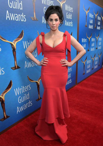 Sarah Silverman Mermaid Gown [red carpet,carpet,electric blue,clothing,dress,red,flooring,premiere,shoulder,cobalt blue,arrivals,sarah silverman,beverly hills,california,the beverly hilton hotel,writers guild awards l.a. ceremony]