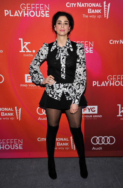 Sarah Silverman Vest [clothing,fashion,leg,carpet,tights,footwear,thigh,dress,joint,premiere,sarah silverman,geffen playhouse,15th annual backstage,california,los angeles,geffen fundraiser]