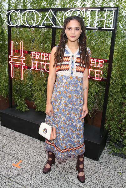 Sasha Lane Print Dress [clothing,dress,street fashion,fashion,footwear,pattern,photography,shoe,fashion design,neck,coach,sasha lane,friends of the high line summer party,friends of the high line,new york city,high line,summer party]