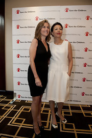 Ann Curry's embellished black-and-white satin pumps and shift dress were a super chic pairing.