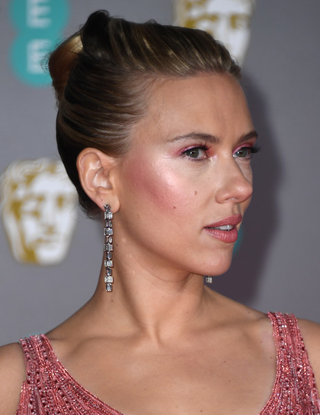 Scarlett Johansson Dangling Diamond Earrings [hair,hairstyle,face,chin,beauty,eyebrow,chignon,bun,ear,lip,scarlett johansson,british academy film awards,ee,england,london,royal albert hall,red carpet arrivals,scarlett johansson,73rd british academy film awards,avengers: age of ultron,stock photography,photograph,celebrity,getty images,photography,actor]
