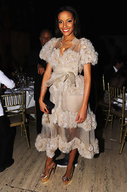 Selita Ebanks was a beauty in this frothy nude creation at the Steve & Marjorie Harvey Foundation Gala.