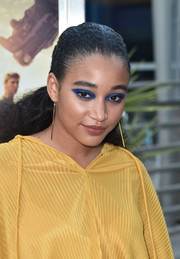 Amandla Stenberg swept her hair back into a ponytail for the screening of 'The Darkest Minds.'