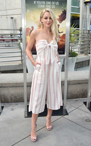 Chloe Lukasiak was summer-chic in a strapless, cropped jumpsuit at the screening of 'The Darkest Minds.'