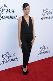 Christian Serratos rocked a sleeveless black jumpsuit on the red carpet.
