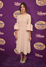 Mandy Moore looked picture-perfect in a nude Roksanda cocktail dress with bell sleeves at the screening of 'Tangled Before Ever After.'