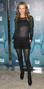 At the screening of 'Allen Gregory,' Leslie Mann donned a black sheer top paired with black shorts. She topped off the look with black leather platform ankle boots.