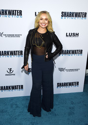Hayden Panettiere layered a black leather jacket over a sheer top for an edgy-sexy vibe at the screening of 'Sharkwater Extinction.'