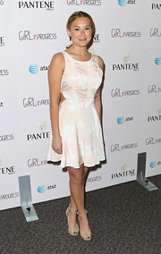 Alexa Vega paired her blush cutout dress with a pair of nude ankle-strap pumps.