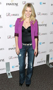Ashley Hinshaw tucked this black corset top into her jeans for the 'Girl in Progress' premiere.
