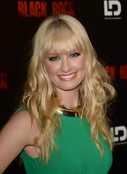 Beth Behrs rocked a naturally wavy 'do and bangs at the screening of 'Black Rock.'