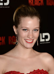 Ashley Hinshaw rocked a super high ponytail while at the 'Black Rock' screening in Hollywood.